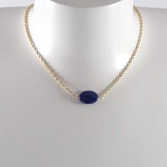 Collier chaine plaqué or Lapis Lazuli ovale facetée