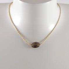 Collier chaine plaqué or Quartz Fumé ovale facetée