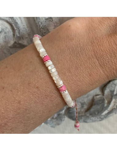 White mother of pearl and light pink...
