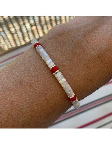 White mother of pearl and red jasper...