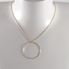 Collier chaine plaqué or 1 Anneau moyen