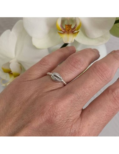 Silver 925 cauri small beads ring