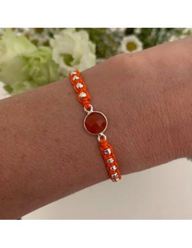 Cord bracelet macrame with carnelian...
