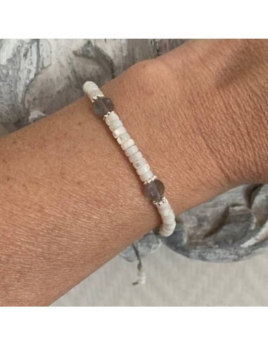 White mother of pearl and labradorite...