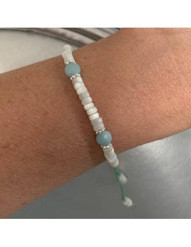 White mother of pearl and amazonite...