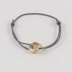 Bracelet cordon 3 petits Anneaux plaqué or