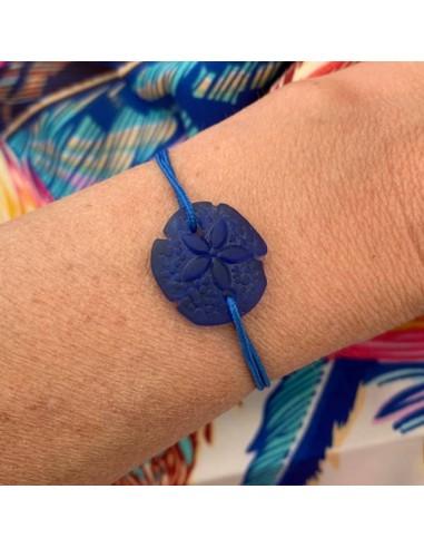 Blue sand dollar with cord bracelet