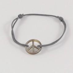 Bracelet cordon Peace & Love nacre noire