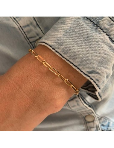 Gold plated rectangle chain bracelet