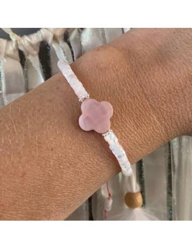 Pink cross mother of pearl Heishi...