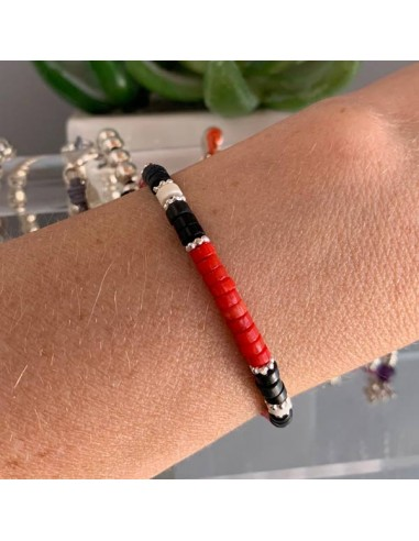 Heishi red coral and black and white...