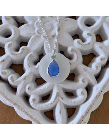Silver 925 chain necklace with white...