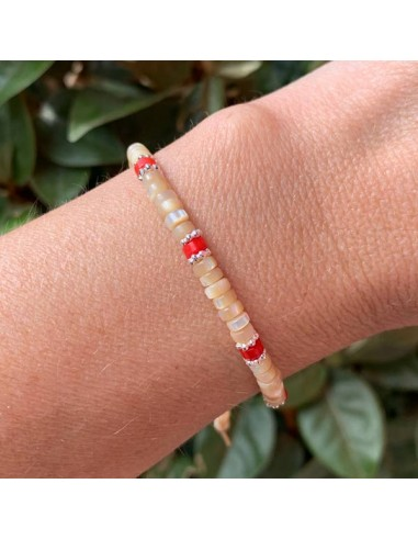 Beige mother of pearl and red jasper...