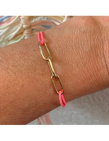 Gold plated 3 small links cord bracelet