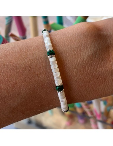 White mother of pearl and malachite...