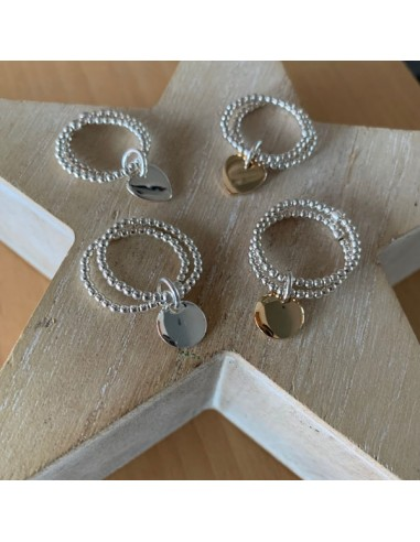 Silver 925 two rows small beads ring...