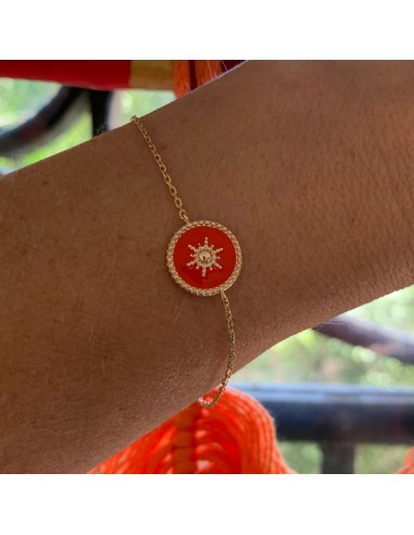 Gold plated coral medal with star...