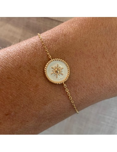 Gold plated white medal with star...