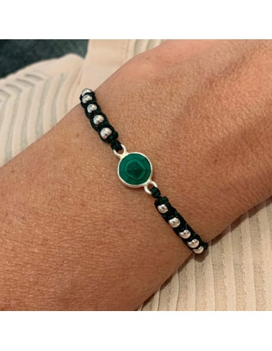 Cord bracelet macrame with malachite...