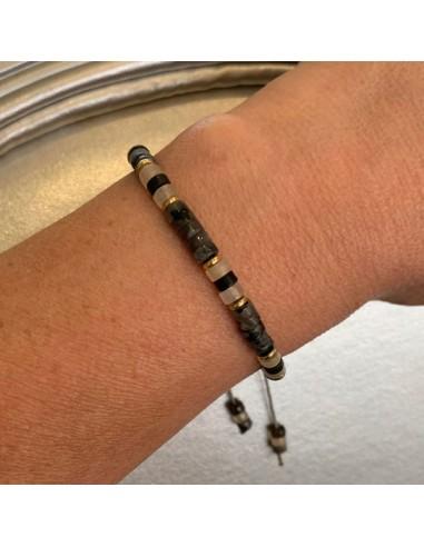 Black labradorite Heishi bracelet