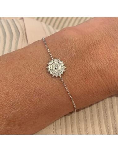 Silver 925 beads sun star chain bracelet