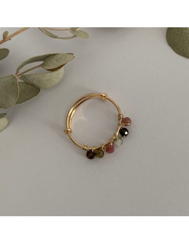 Gold filled thin ring with multicolor...