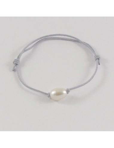 Bracelet Perle d'eau douce blanche ovale