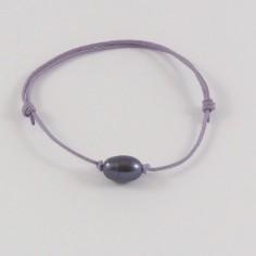 Bracelet cordon Perle d'eau douce noire ovale