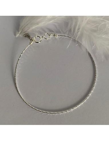 Silver 925 thin shiny bangle bracelet