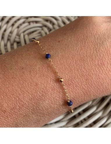 Gold plated lapis lazuli small beads...