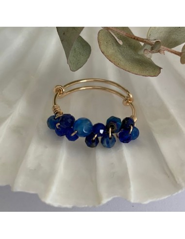 Gold filled thin ring with blue stones