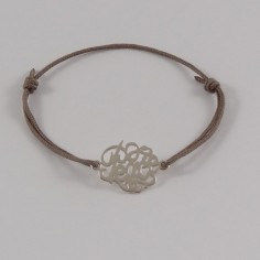 Bracelet cordon motif Peace argent