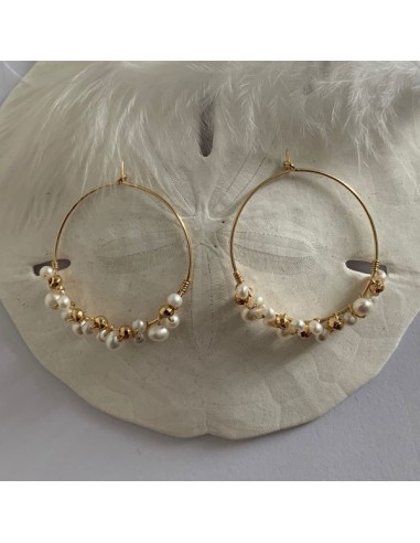 Gold plated hoop earrings with white...