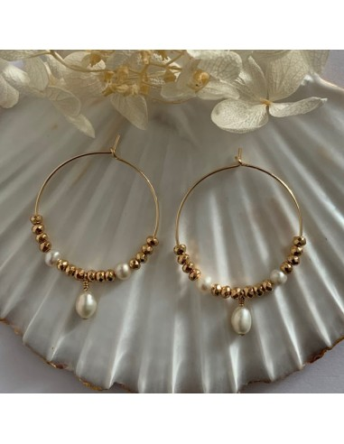 Gold plated hoop earrings with 3...