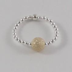 Bague minis perles argent Perle plaqué or