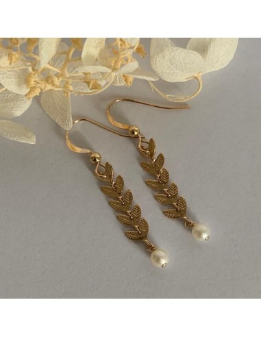 Gold plated laurel earrings with...