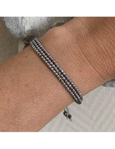 Three rows cord bracelet with hematite