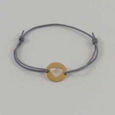 Cord bracelet gold plated open heart medal