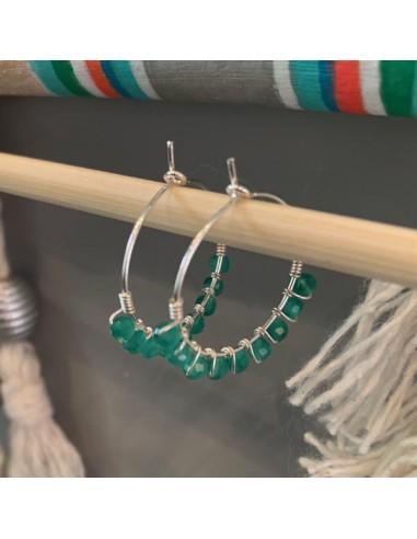 Silver 925 medium hoop earrings with...