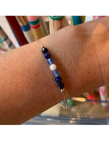 Gold filled thin bangle bracelet blue...