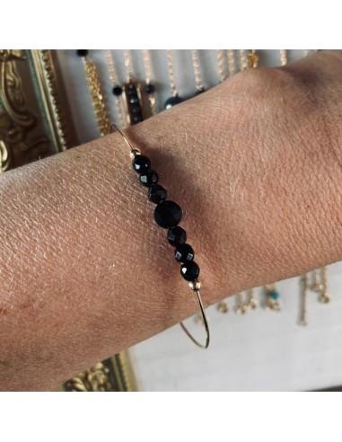 Gold filled thin bangle bracelet 7 onyx