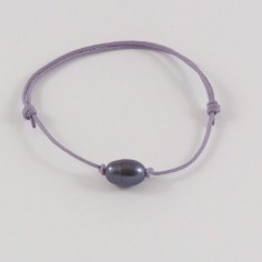 Child black freshwater pearl cord bracelet