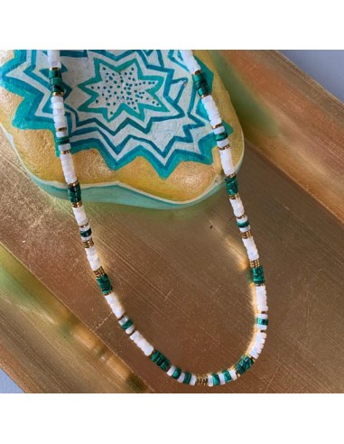 Mother of pearl and malachite Heishi...