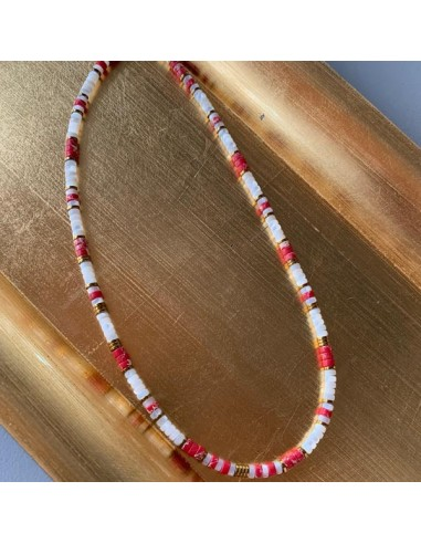 Mother of pearl and red jasper Heishi...