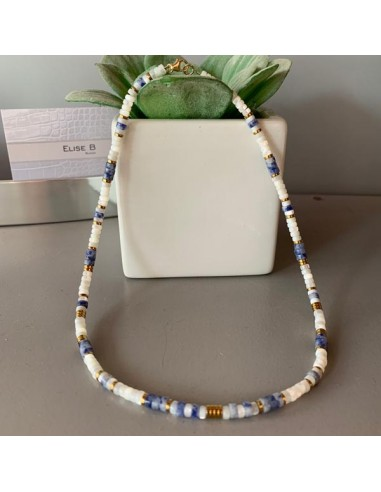 Mother of pearl and sodalite Heishi...