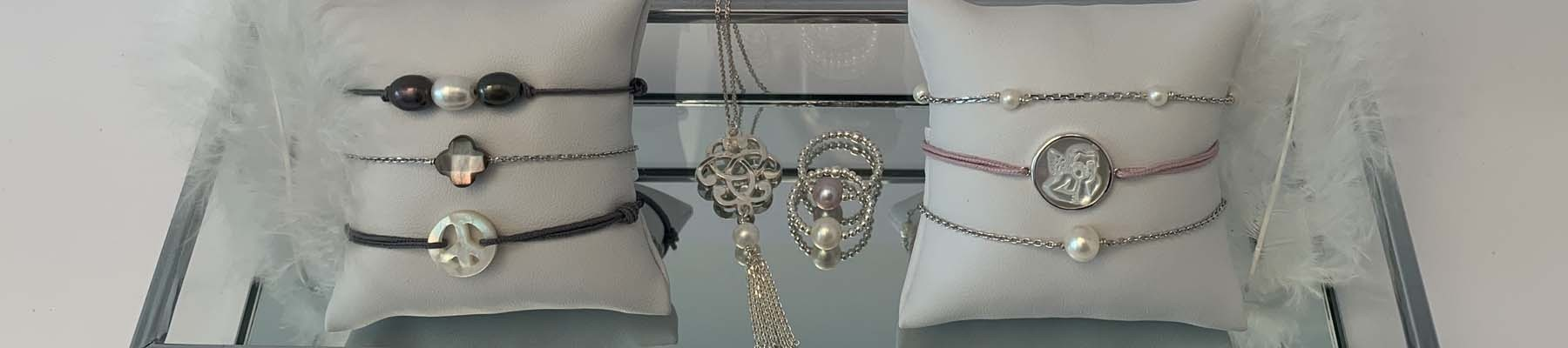Elise B fresh water pearls and shell jewels
