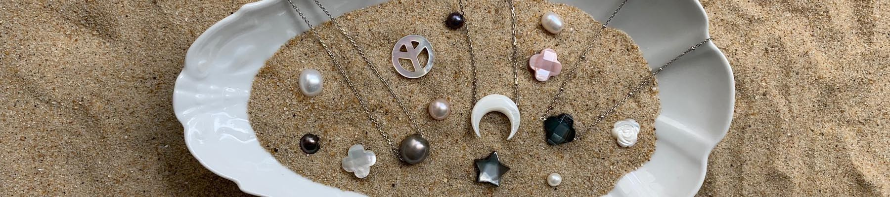 Freshwater pearls and shell Necklaces